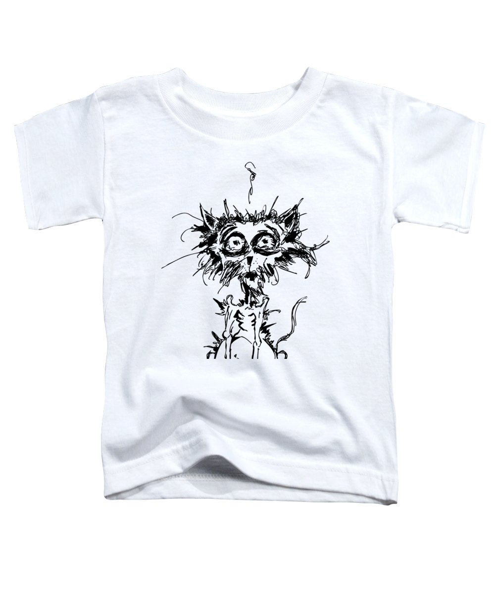 Terror Toddler T-Shirt featuring the digital art Angst Cat by Nicholas Ely