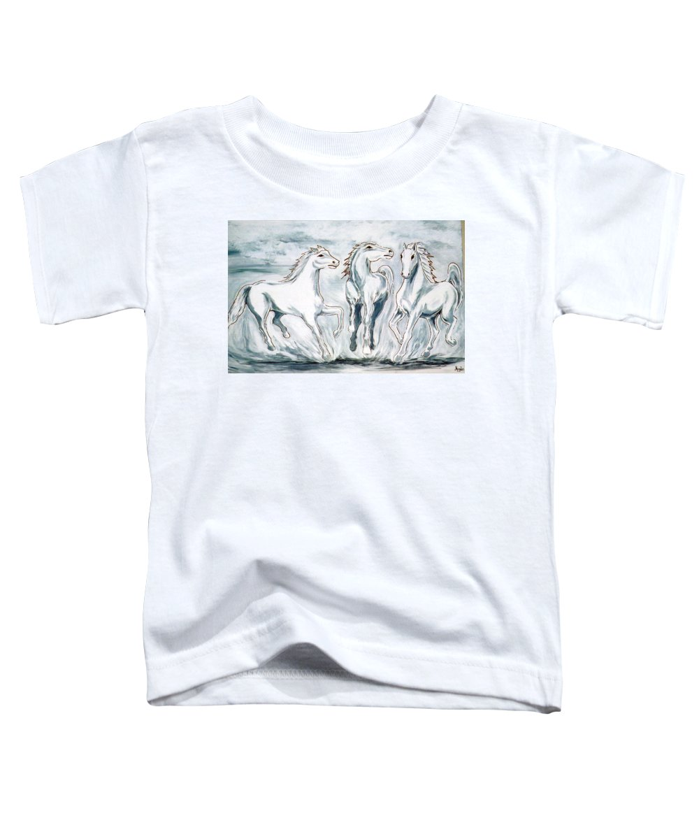 Horses Toddler T-Shirt featuring the painting Arabian Roots by Marco Morales