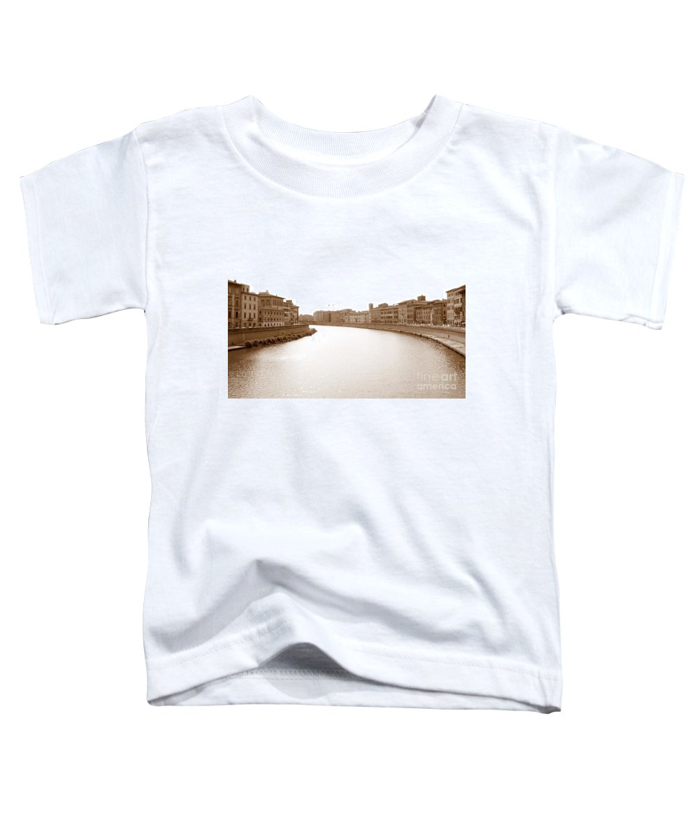 Arno Toddler T-Shirt featuring the photograph Arno River In Pisa by Laurel Best