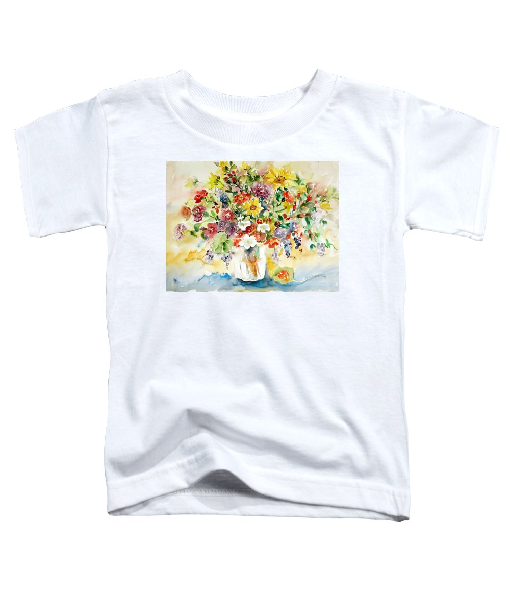 Watercolor Toddler T-Shirt featuring the painting Arrangement IIi by Alexandra Maria Ethlyn Cheshire