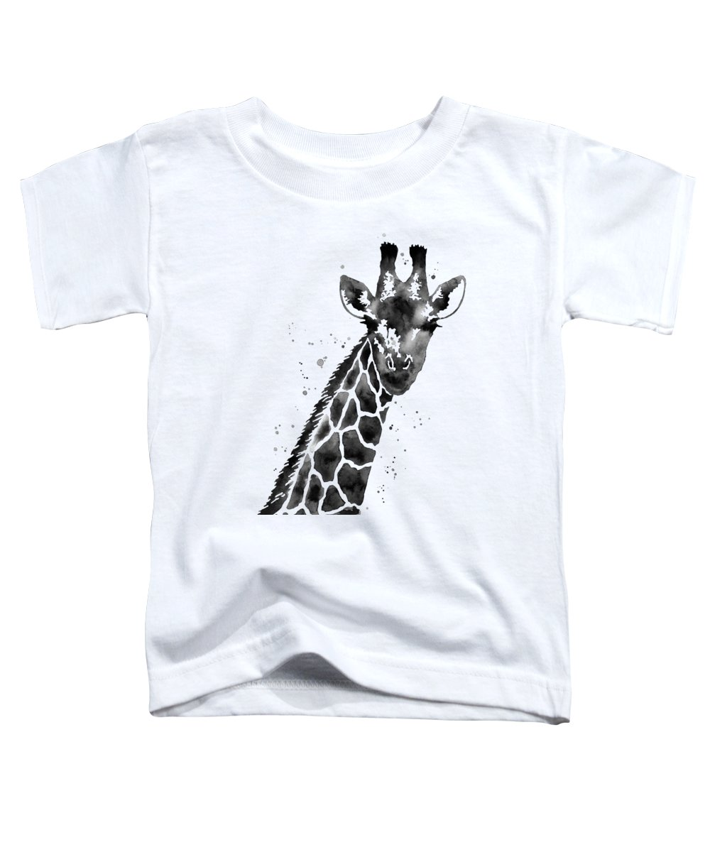 Giraffe Toddler T-Shirt featuring the painting Giraffe In Black And White by Hailey E Herrera
