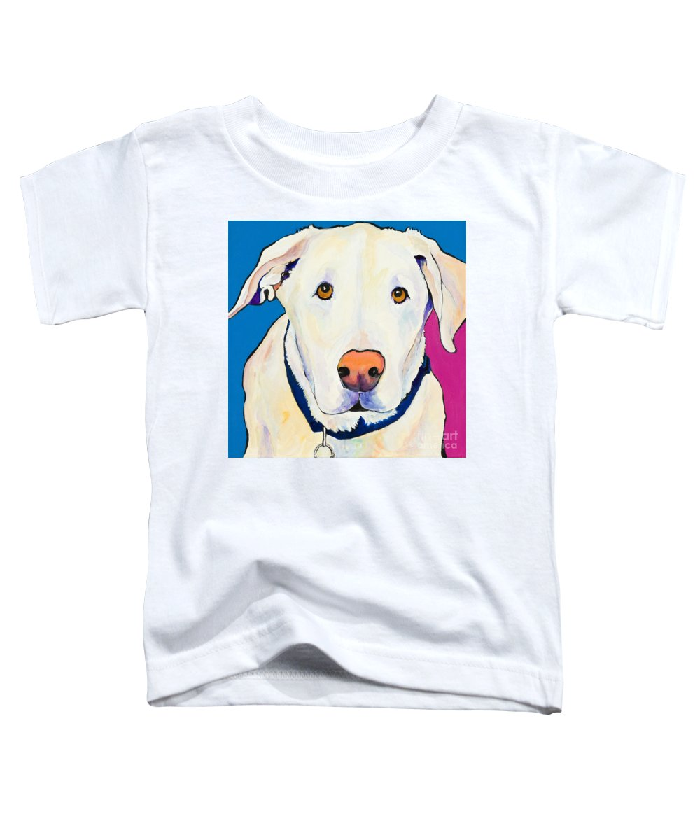 White Lab Yellow Lab Animal Paintings Golden Eyes Square Format Dogs Pets Rescued Toddler T-Shirt featuring the painting Aslinn by Pat Saunders-White