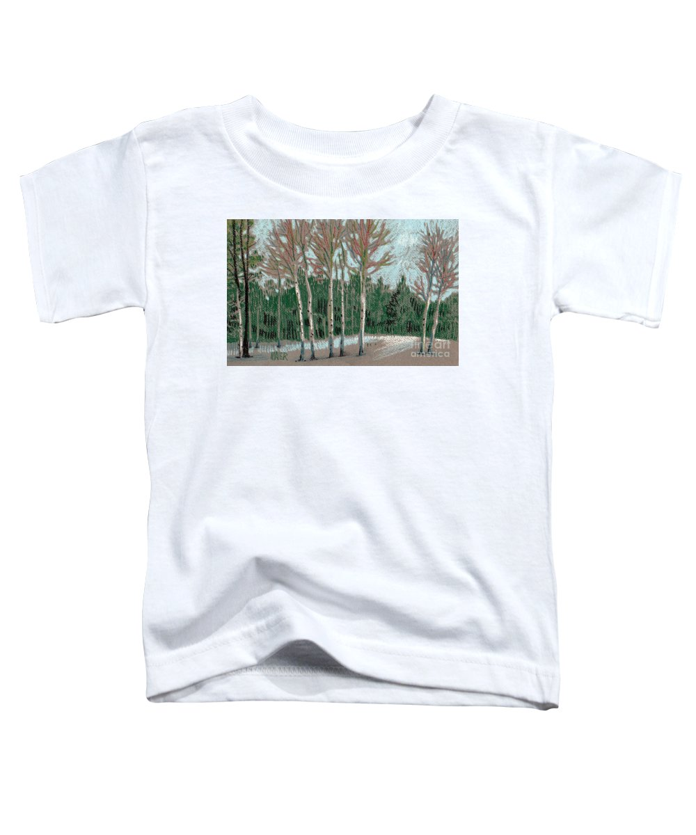 Aspens Toddler T-Shirt featuring the drawing Aspen In The Snow by Donald Maier