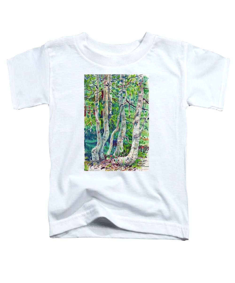 Aspens Toddler T-Shirt featuring the drawing Aspens by Donald Maier