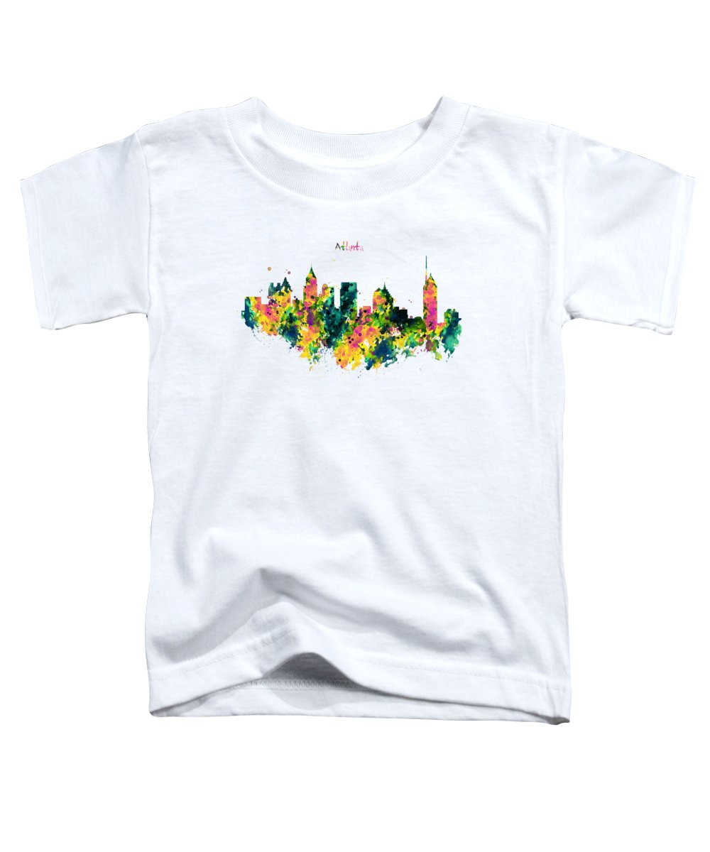 Atlanta Toddler T-Shirt featuring the painting Atlanta Watercolor Skyline by Marian Voicu