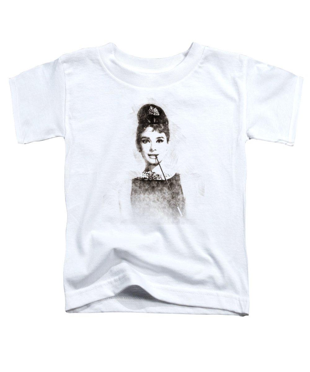 Audrey Hepburn; Audrey; Hepburn; Hollywood; Sex Symbol; Model; Actress; Films; Legend; Sixties; Icon; Woman; Poster; Print; Pen Sketch; Pen; Portrait; Watercolor; Art Toddler T-Shirt featuring the painting Audrey Hepburn Portrait 01 by Pablo Romero