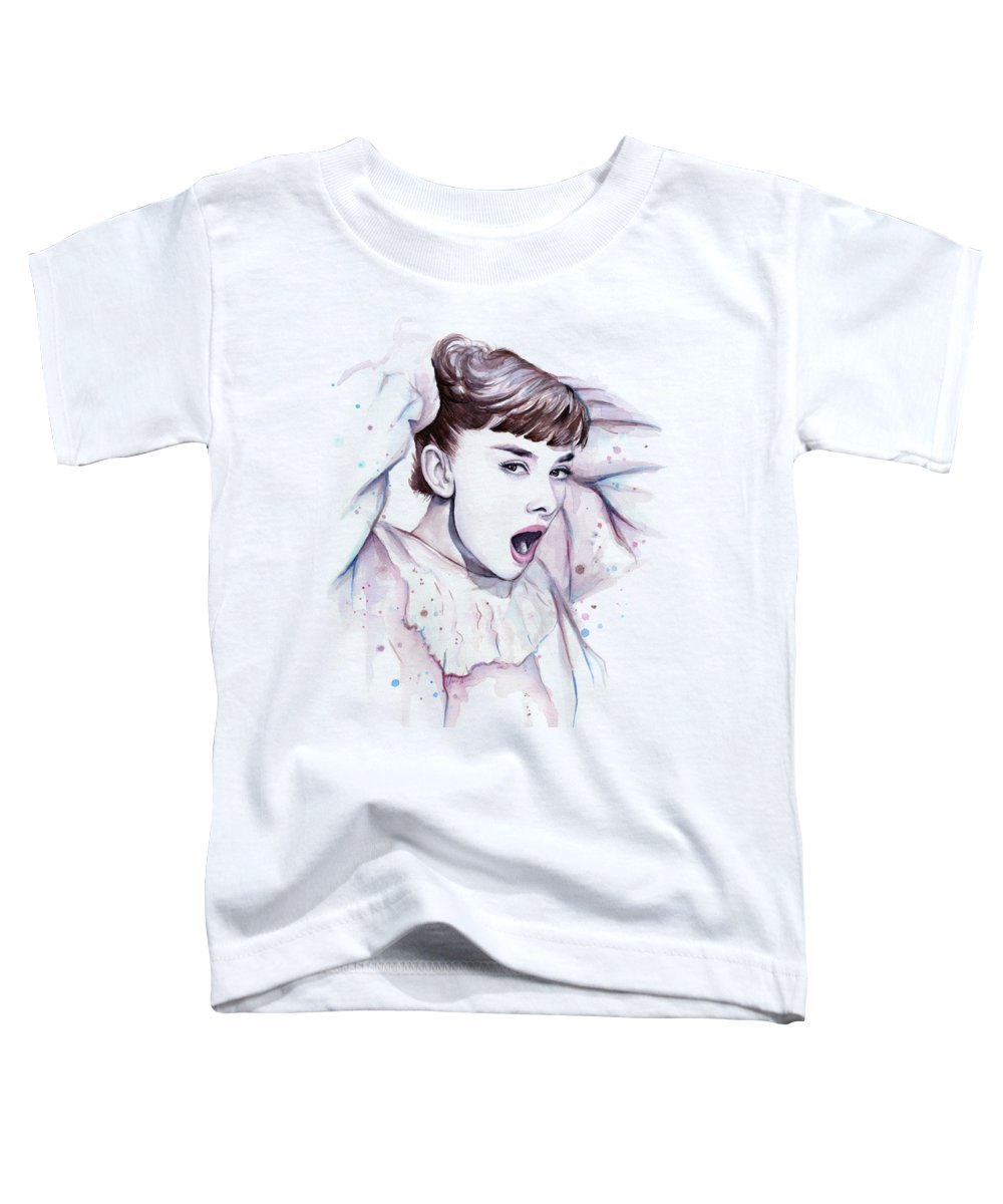 Audrey Toddler T-Shirt featuring the painting Audrey - Purple Scream by Olga Shvartsur