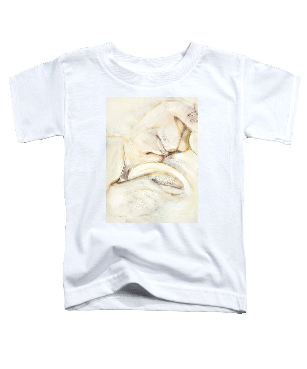 Female Toddler T-Shirt featuring the drawing Award Winning Abstract Nude by Kerryn Madsen-Pietsch
