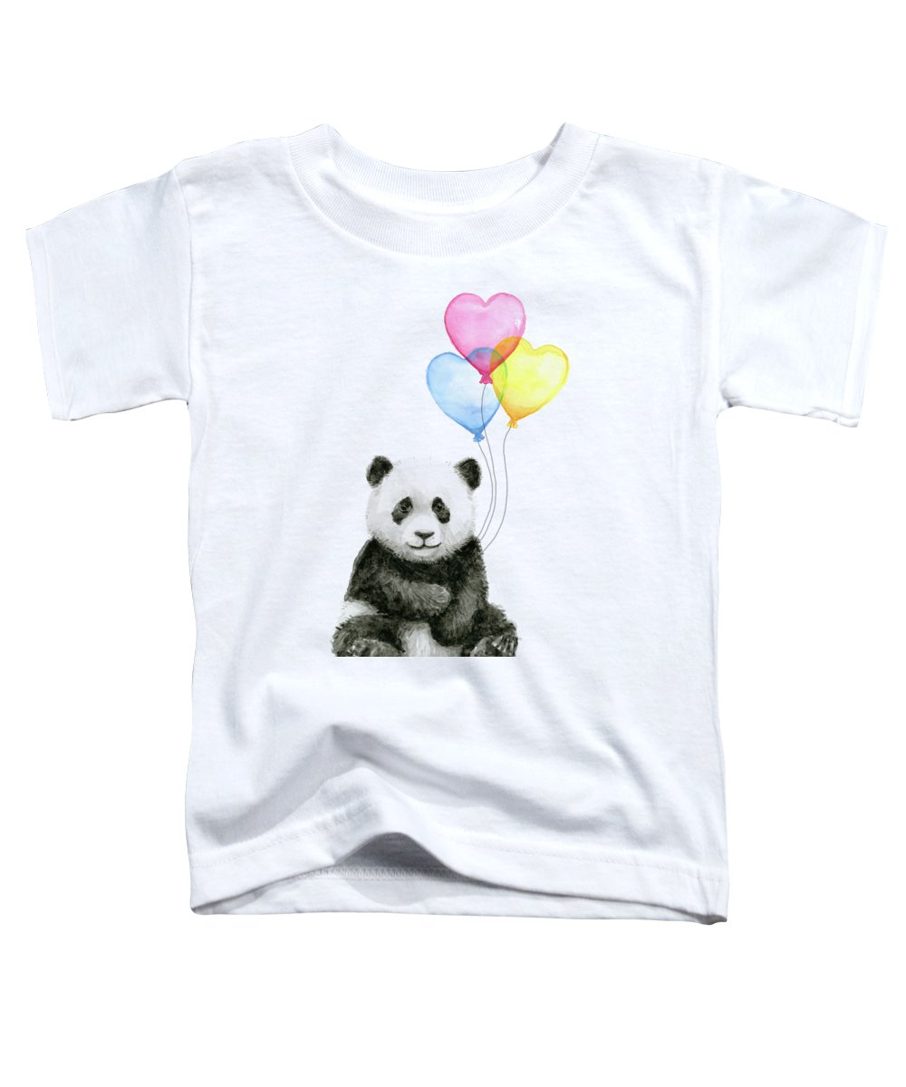 Baby Panda Toddler T-Shirt featuring the painting Baby Panda With Heart-shaped Balloons by Olga Shvartsur