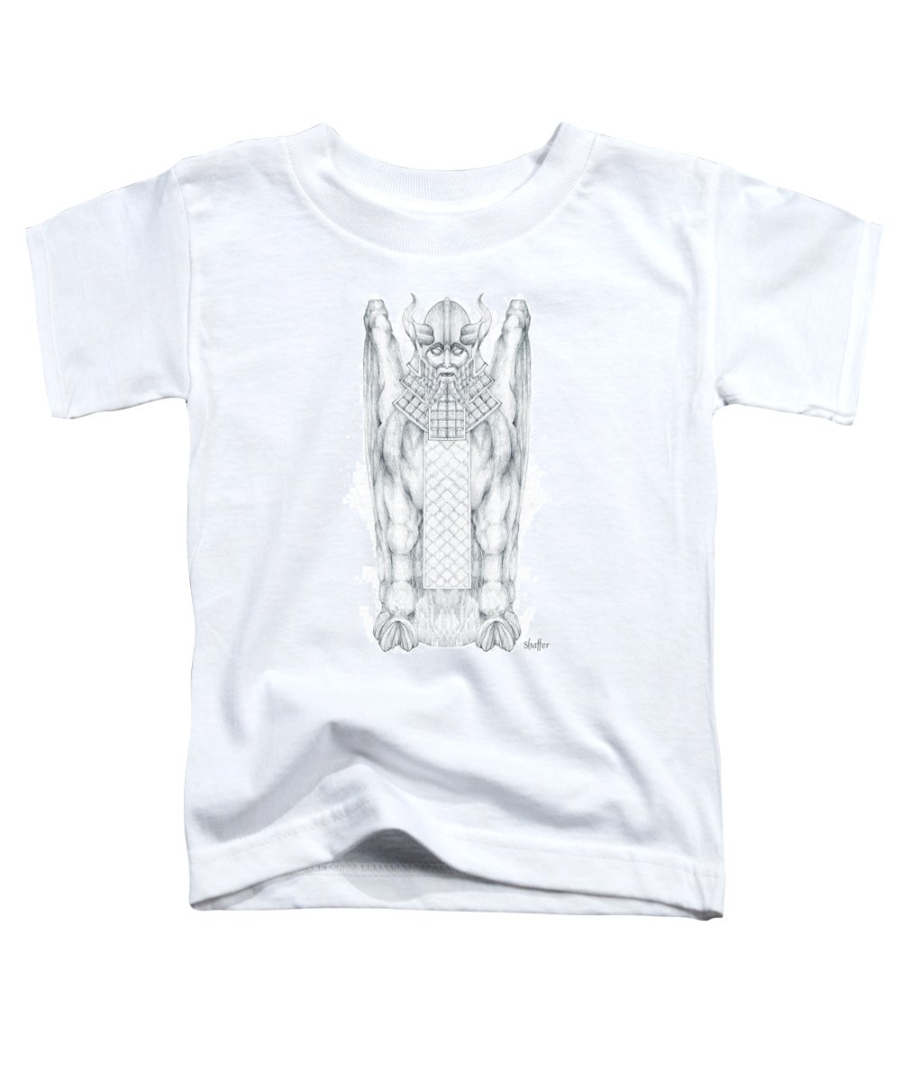 Babylonian Toddler T-Shirt featuring the drawing Babylonian Sphinx Lamassu by Curtiss Shaffer