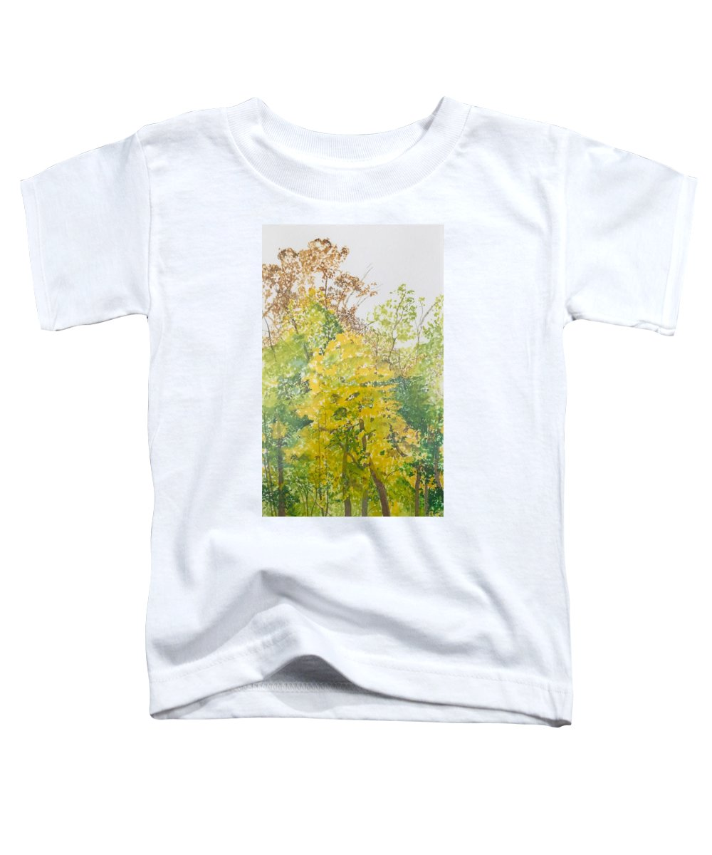 Autumn Toddler T-Shirt featuring the painting Backyard by Leah Tomaino