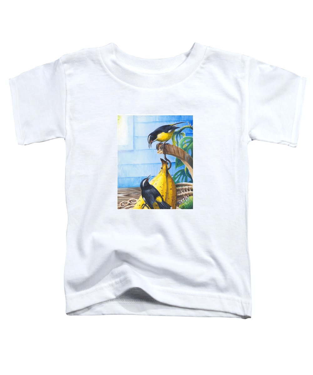 Chris Cox Toddler T-Shirt featuring the painting Bananaquits And Bananas by Christopher Cox