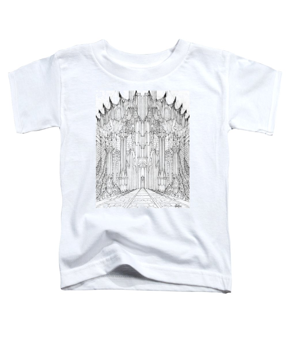 Barad-dur Toddler T-Shirt featuring the drawing Barad-dur Gate Study by Curtiss Shaffer