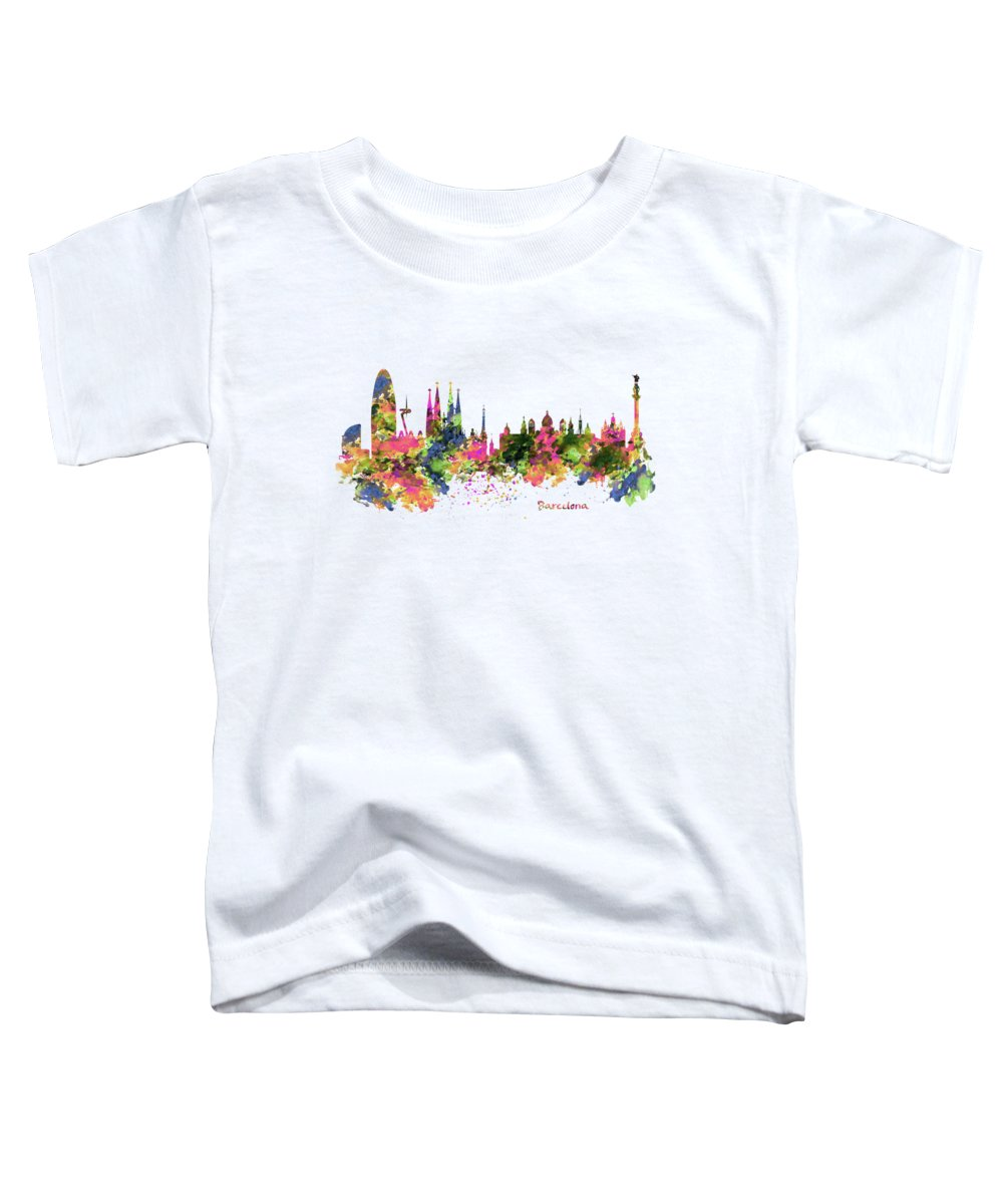 Barcelona Toddler T-Shirt featuring the painting Barcelona Watercolor Skyline by Marian Voicu
