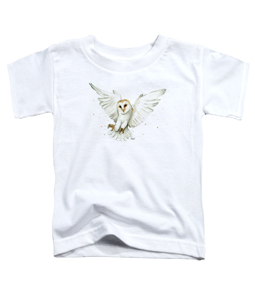 Owl Toddler T-Shirt featuring the painting Barn Owl Flying Watercolor by Olga Shvartsur