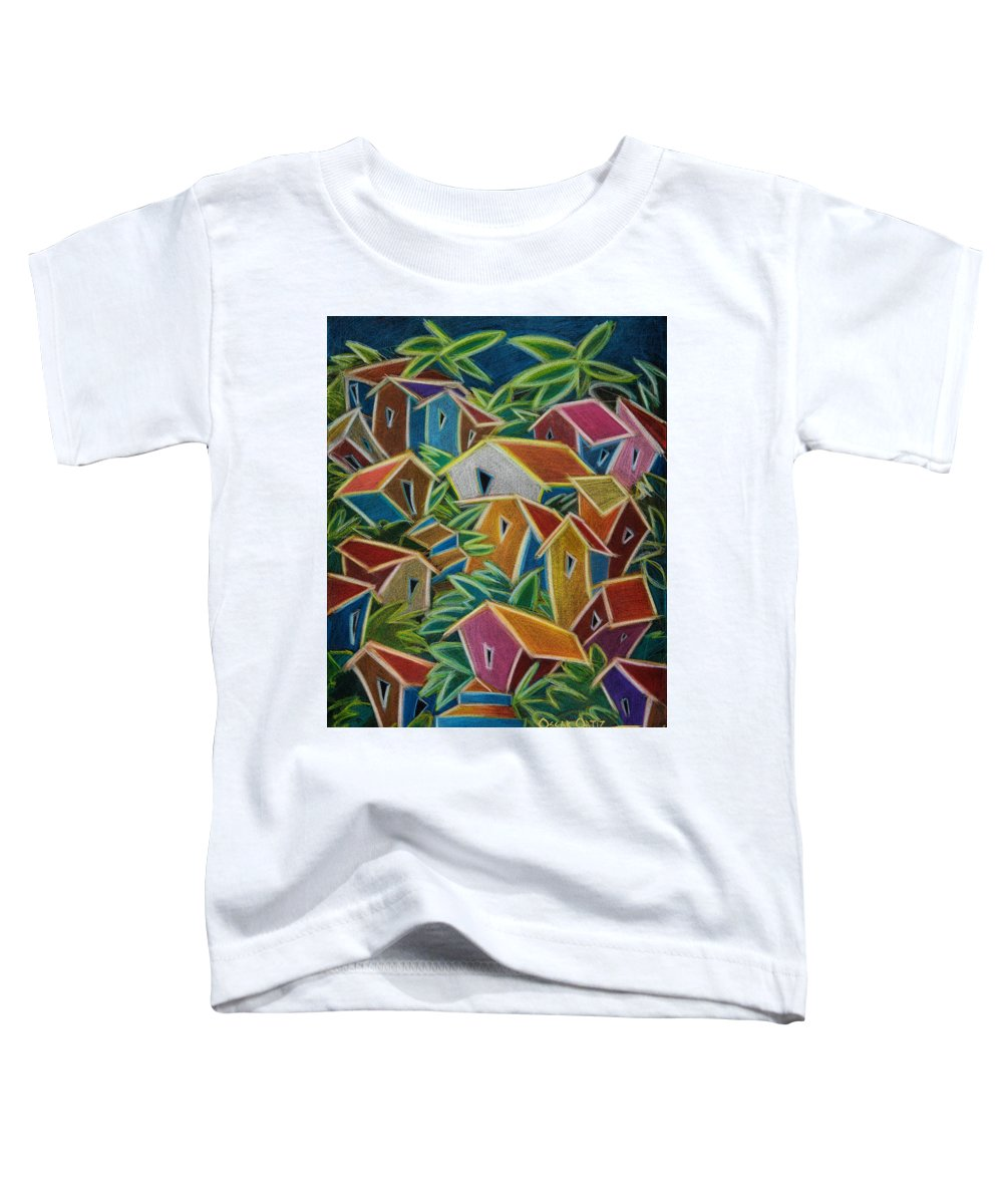 Landscape Toddler T-Shirt featuring the painting Barrio Lindo by Oscar Ortiz