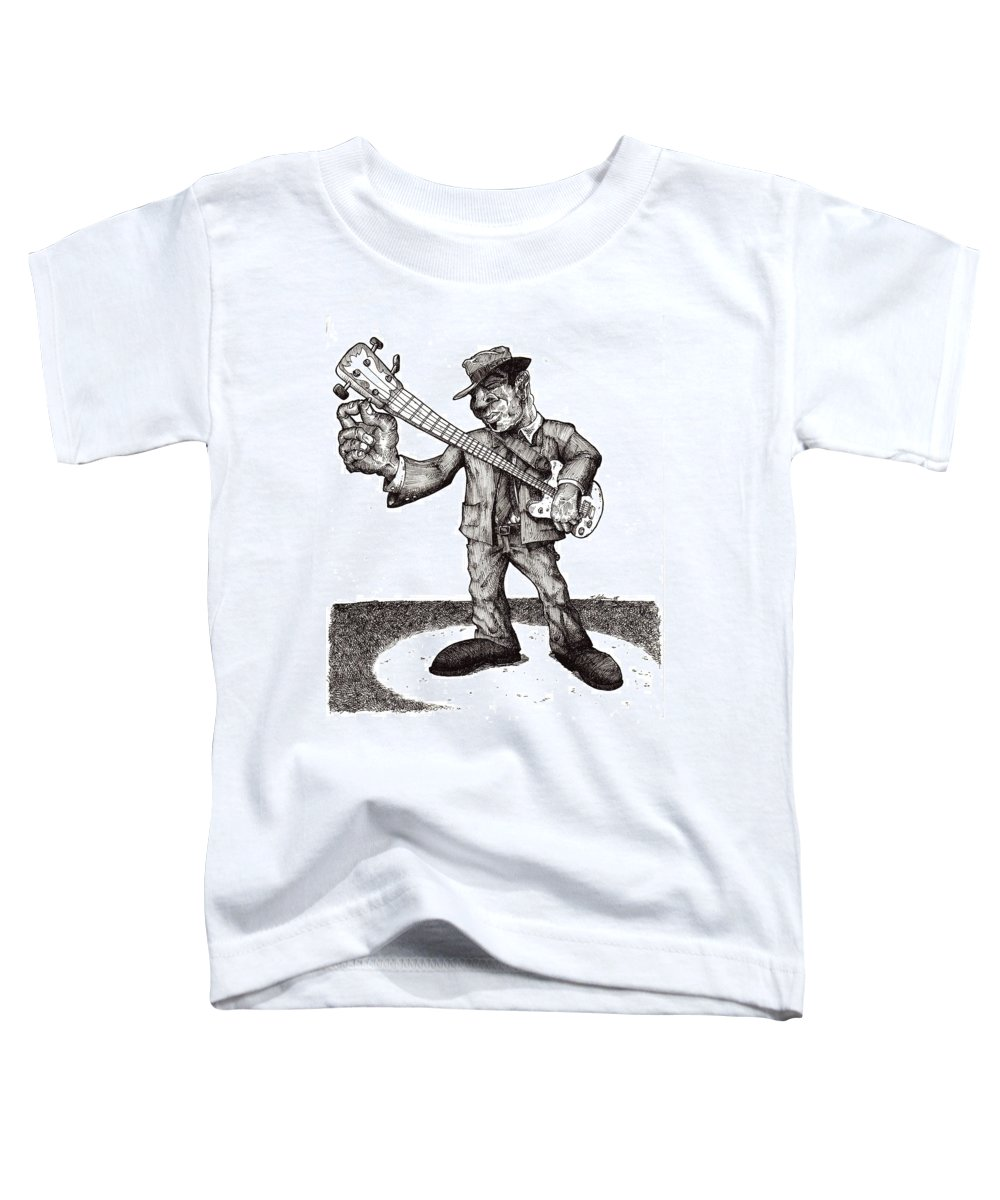 Blues Toddler T-Shirt featuring the drawing Bass by Tobey Anderson