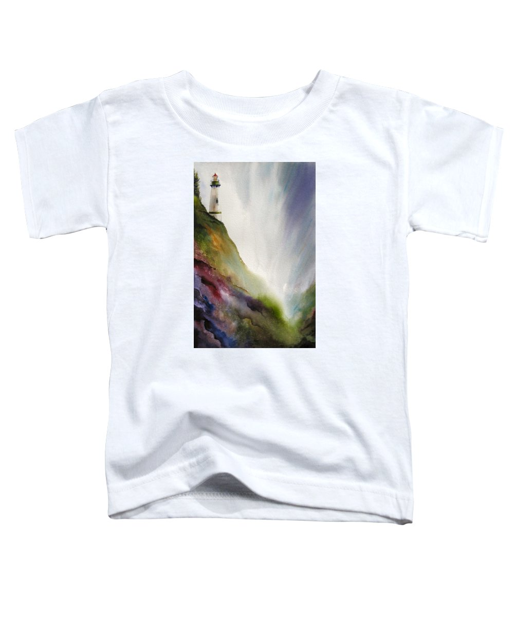 Lighthouse Toddler T-Shirt featuring the painting Beacon by Karen Stark