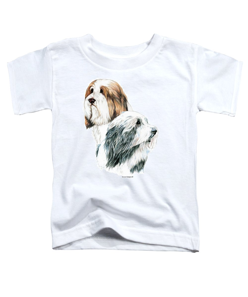 Bearded Collies Toddler T-Shirt featuring the drawing Bearded Collies by Kathleen Sepulveda