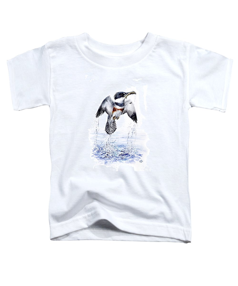 Chris Cox Toddler T-Shirt featuring the painting Belted Kingfisher by Christopher Cox