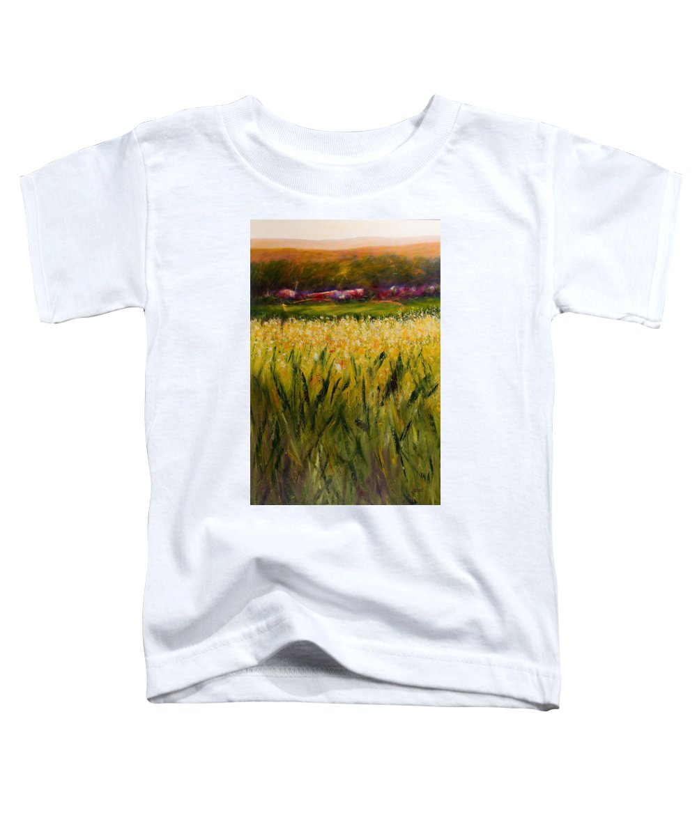 Landscape Toddler T-Shirt featuring the painting Beyond The Valley by Shannon Grissom