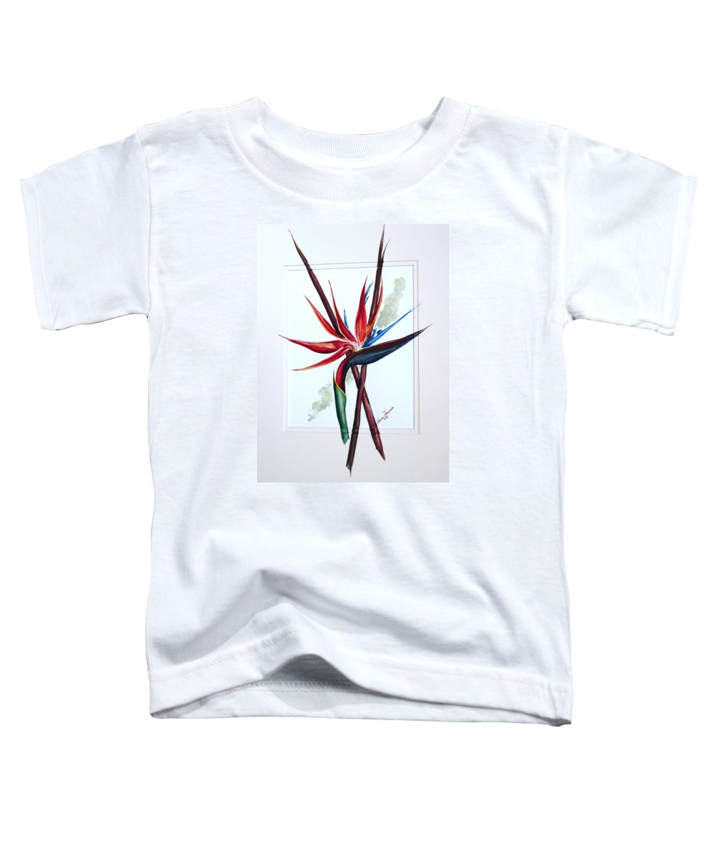 Floral Tropical Caribbean Flower Toddler T-Shirt featuring the painting Bird Of Paradise Lily by Karin Dawn Kelshall- Best
