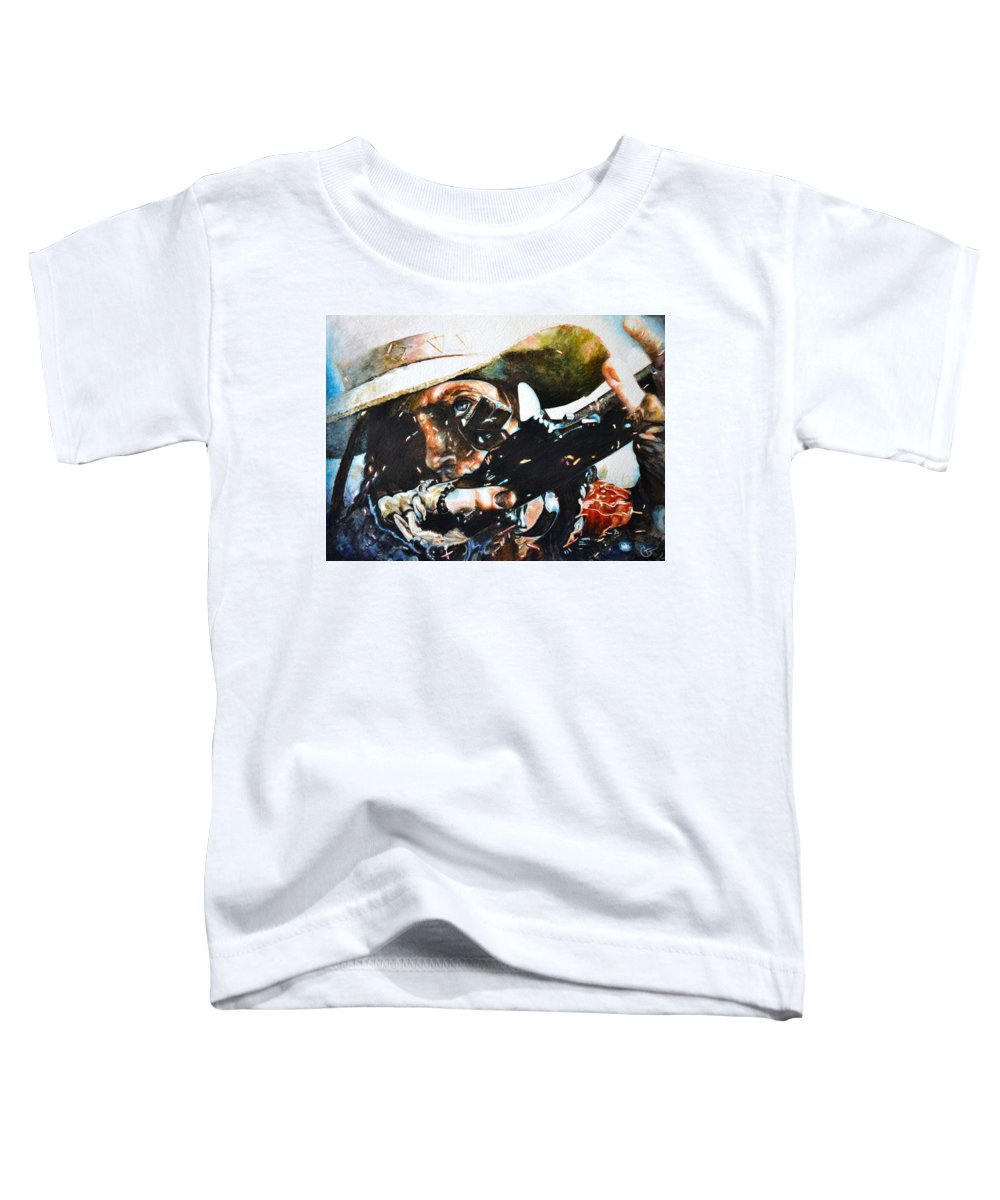 Western Paintings Toddler T-Shirt featuring the painting Black Powder by Traci Goebel