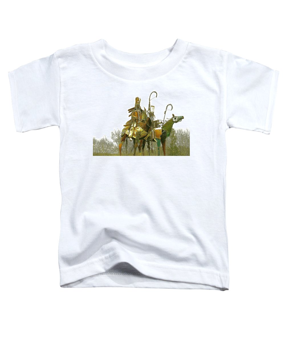 Native American Toddler T-Shirt featuring the photograph Blackfeet Wariors by Nelson Strong