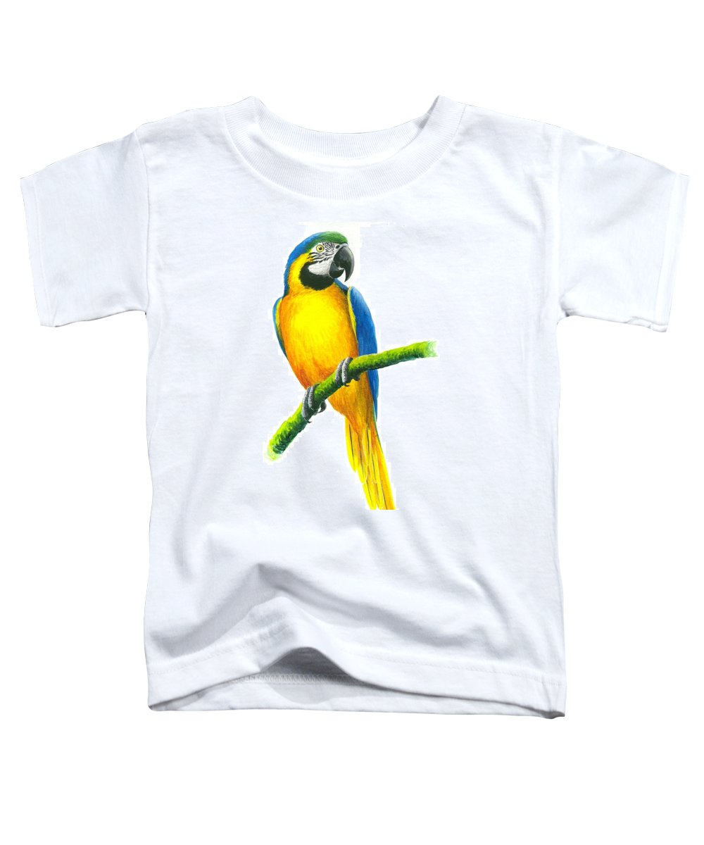 Chris Cox Toddler T-Shirt featuring the painting Blue And Gold Macaw by Christopher Cox