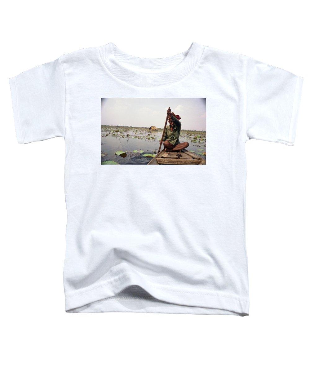 Cambodia Toddler T-Shirt featuring the photograph Boatman - Battambang by Patrick Klauss