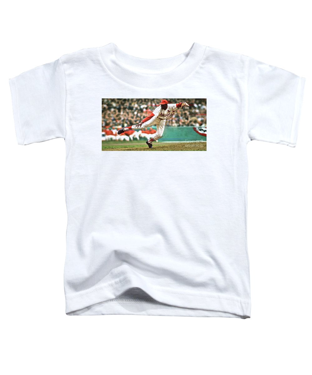 St Louis Toddler T-Shirt featuring the mixed media Bob Gibson, 1964 Game 7 Series MVP by Thomas Pollart