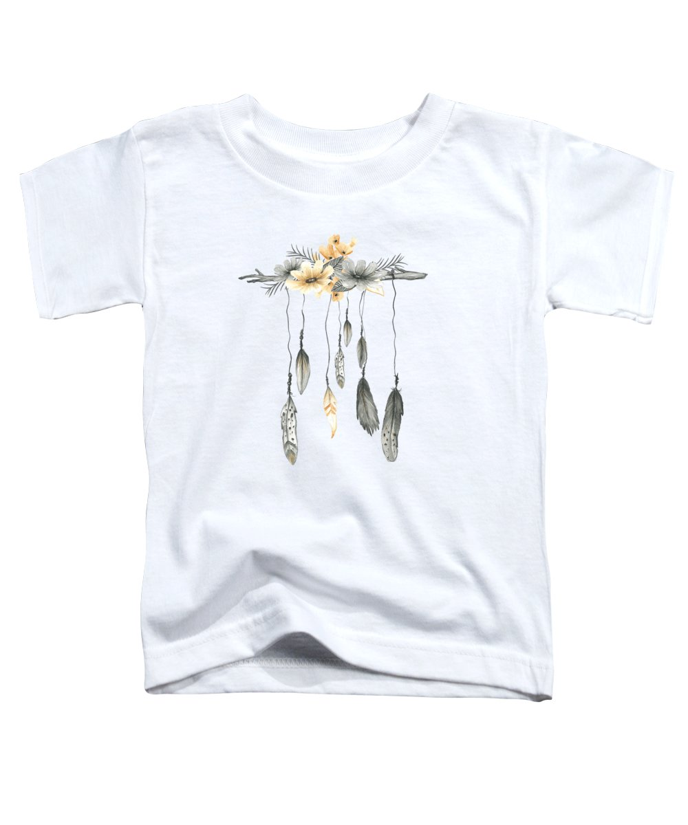 Boho Toddler T-Shirt featuring the digital art Boho Feathers Floral Branch by Pink Forest Cafe