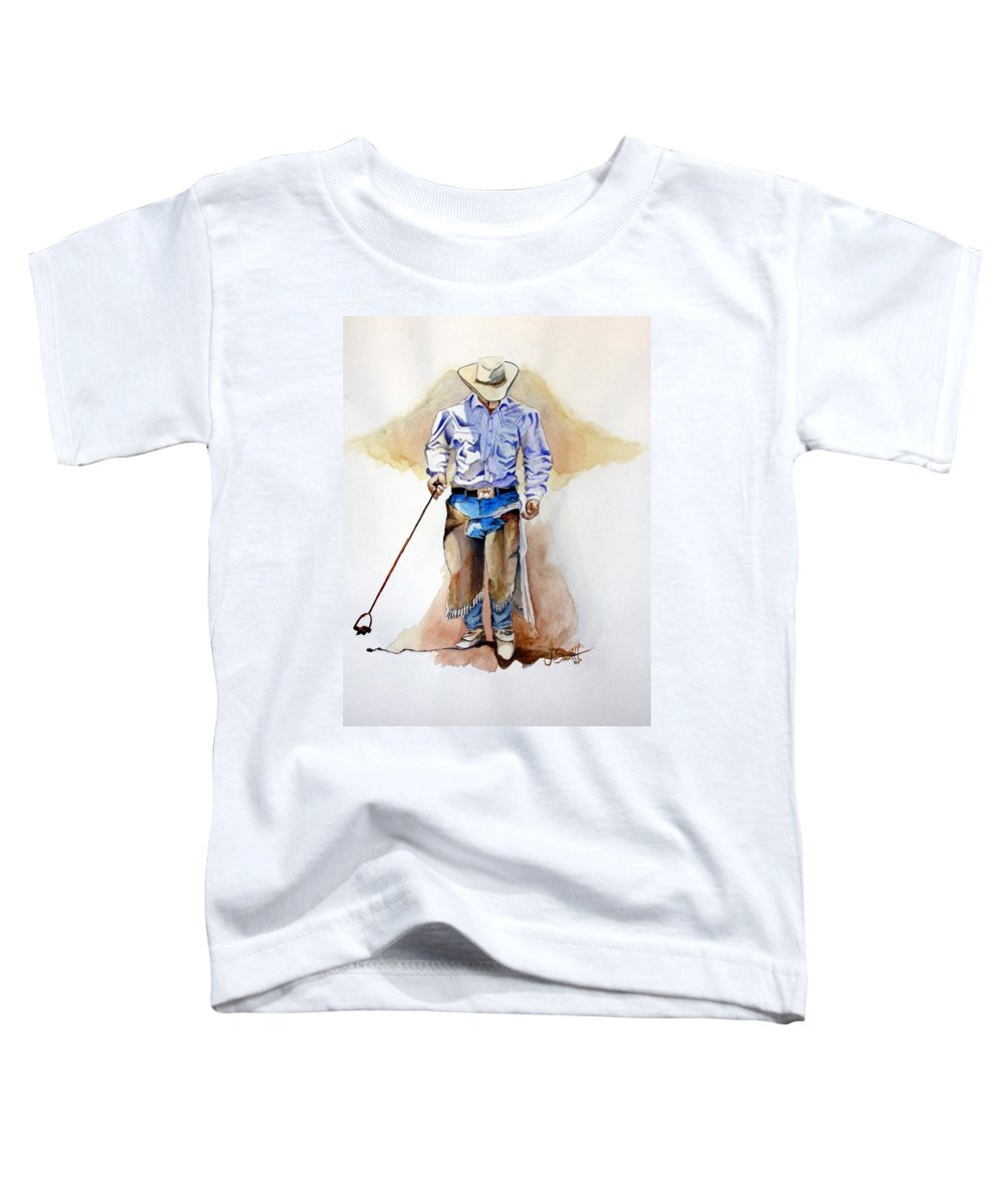 Western Toddler T-Shirt featuring the painting Branding Blisters by Jimmy Smith