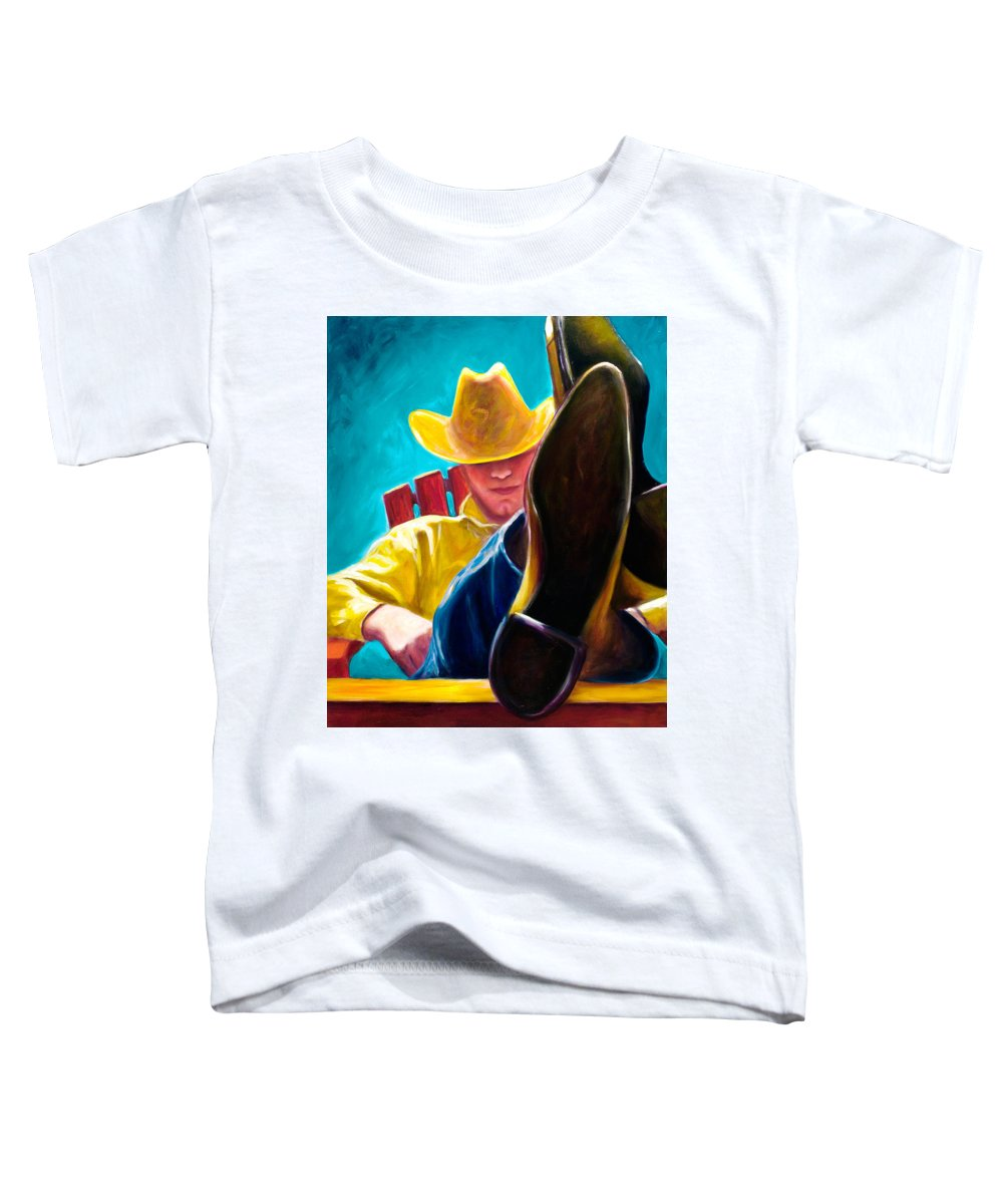 Western Toddler T-Shirt featuring the painting Break Time by Shannon Grissom