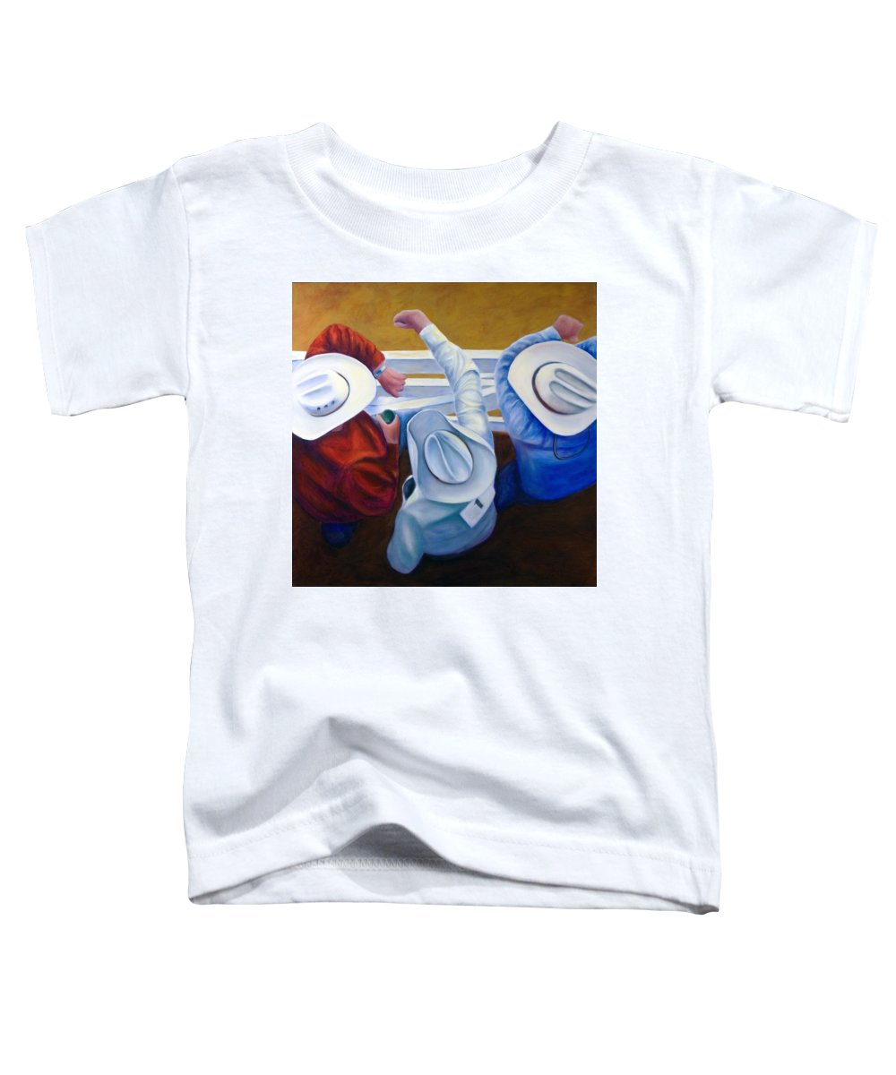 Western Toddler T-Shirt featuring the painting Bull Chute by Shannon Grissom