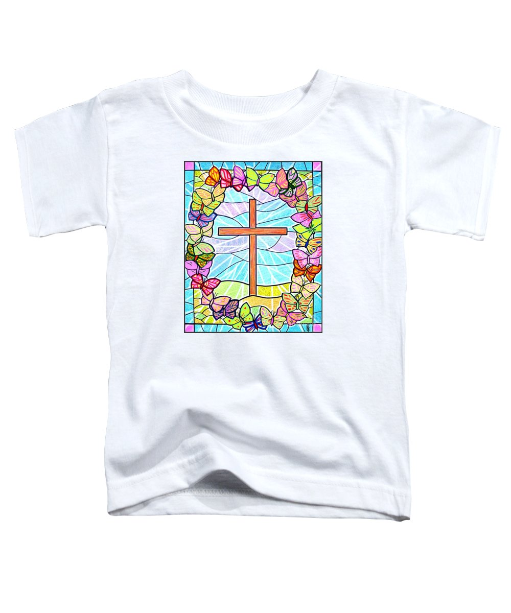 Easter Toddler T-Shirt featuring the painting Butterflies And Cross by Jim Harris