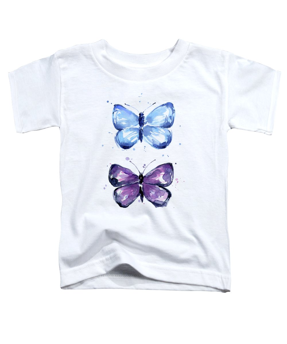 Abstract Toddler T-Shirt featuring the painting Butterflies Blue And Purple by Olga Shvartsur