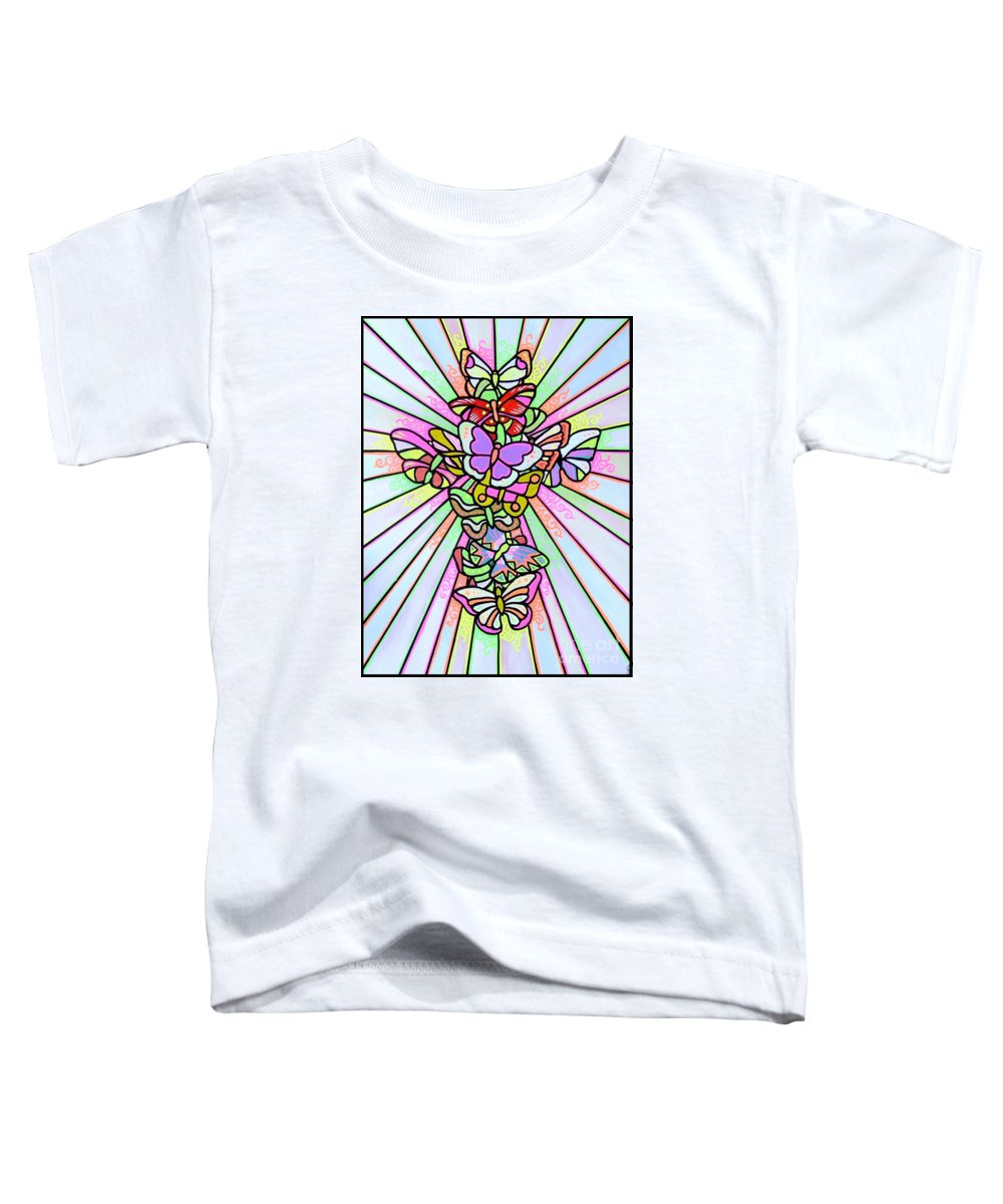 Cross. Easter Toddler T-Shirt featuring the painting Butterfly Cross by Jim Harris