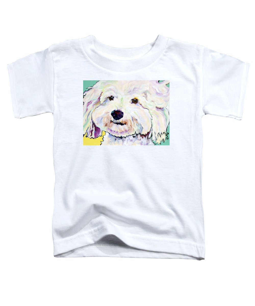 Bischon Toddler T-Shirt featuring the painting Buttons  by Pat Saunders-White