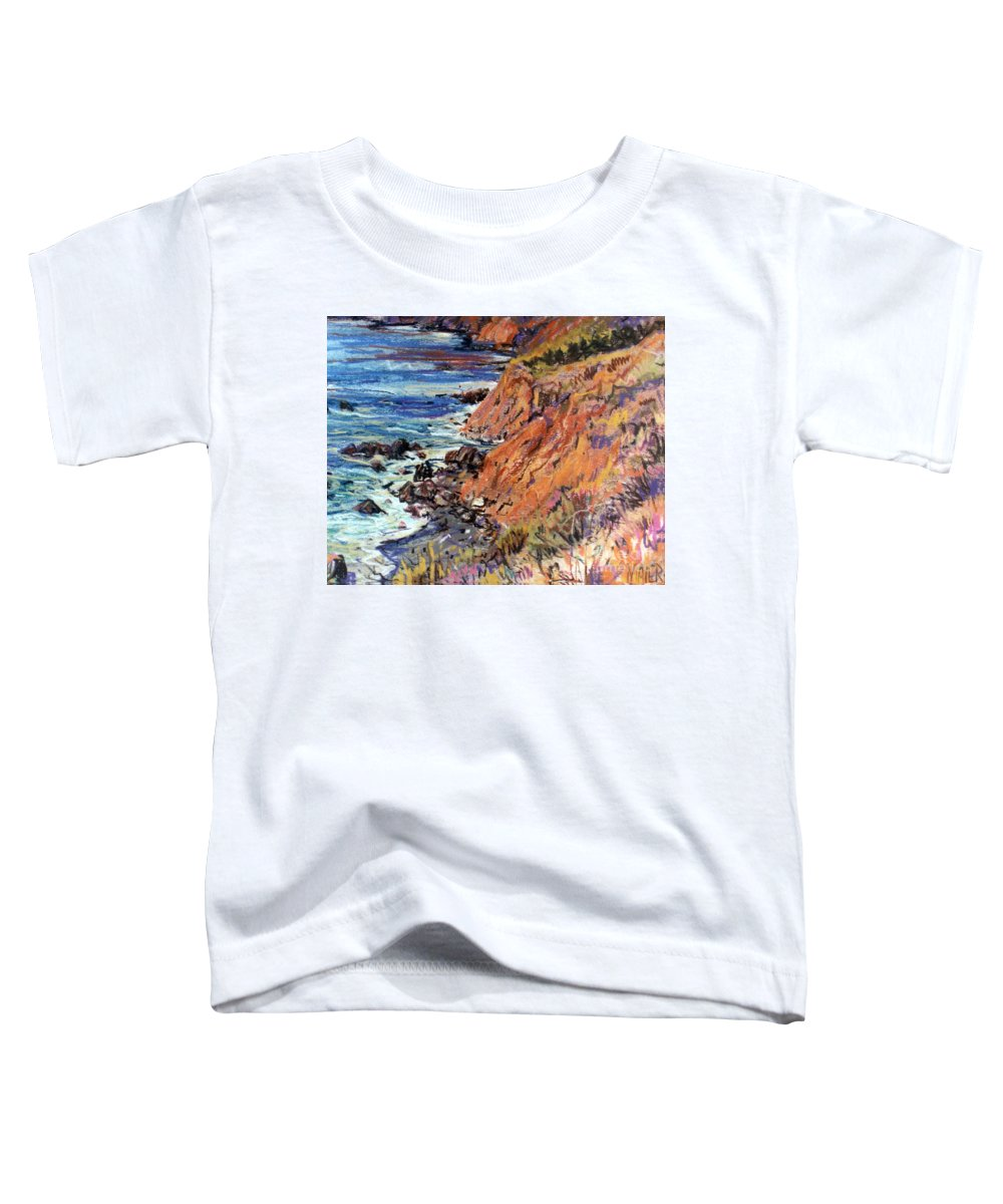 Big Sur Toddler T-Shirt featuring the drawing California Coast by Donald Maier