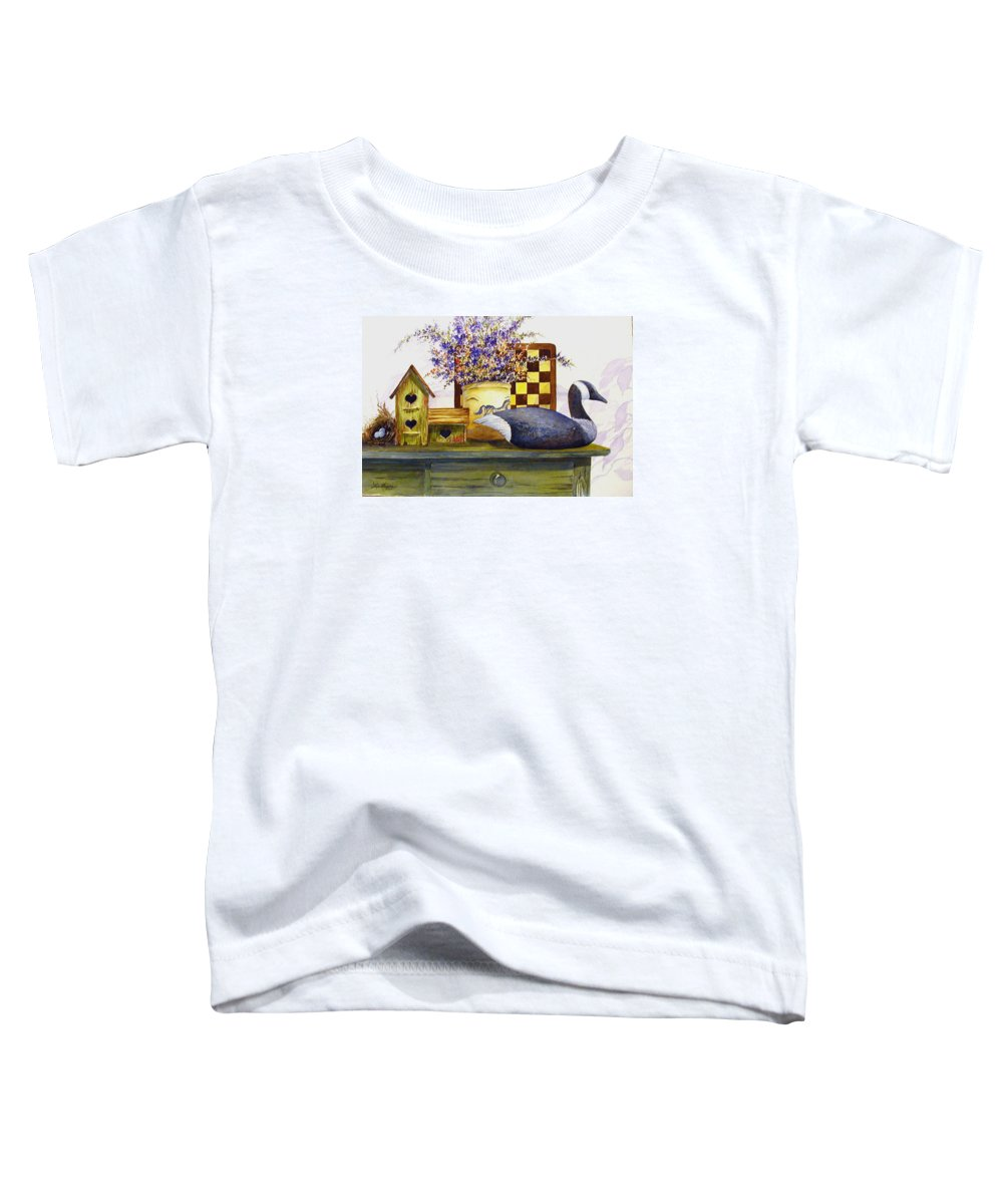 Canada Goose;birdhouse;bird Nest;crock;checkerboard;still Life;country Still Life; Toddler T-Shirt featuring the painting Canada And Checkerboard by Lois Mountz