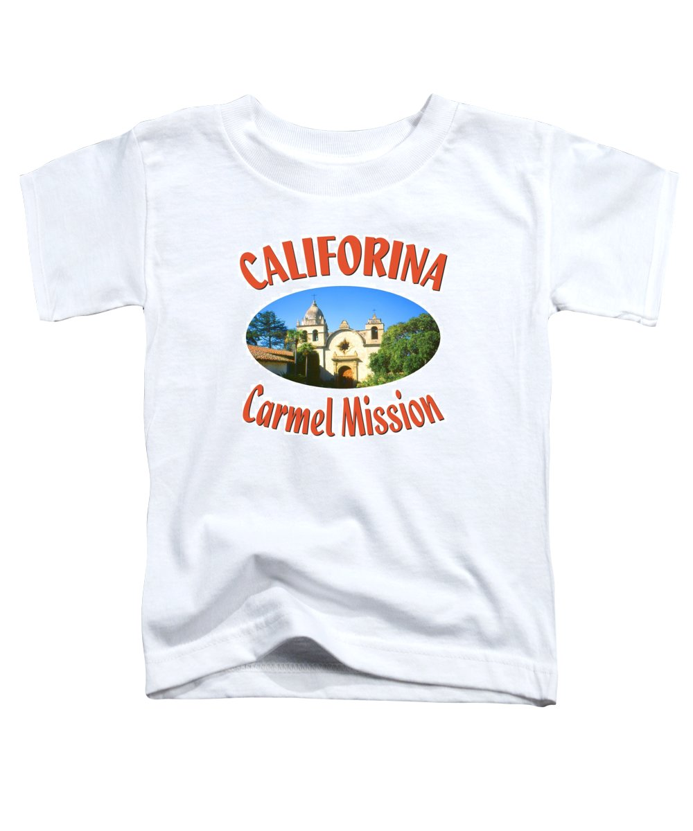Carmel Toddler T-Shirt featuring the mixed media Carmel Mission California Design by Peter Potter