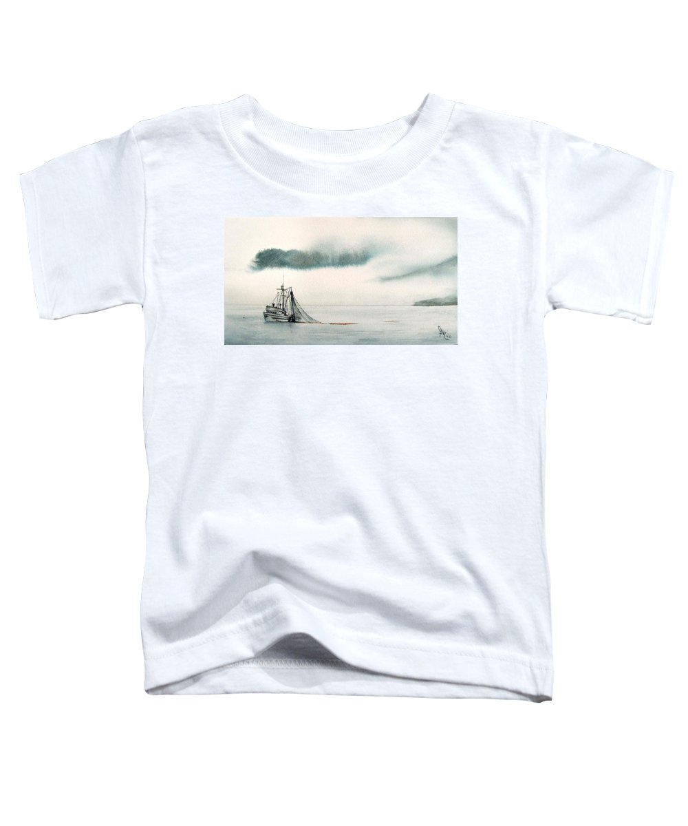 Fishing Boat Toddler T-Shirt featuring the painting Catch Of The Day by Gale Cochran-Smith