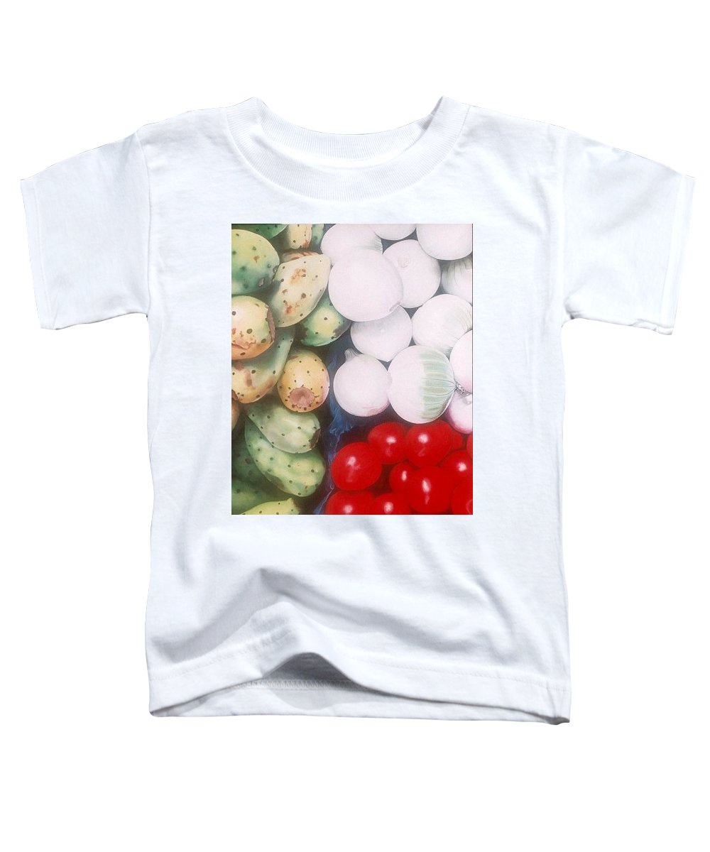Hyperrealism Toddler T-Shirt featuring the painting Cebollas Tunas Y Tomates by Michael Earney