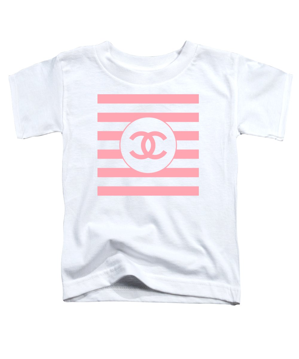 Chanel Toddler T-Shirt featuring the digital art Chanel - Stripe Pattern - Pink - Fashion And Lifestyle by TUSCAN Afternoon