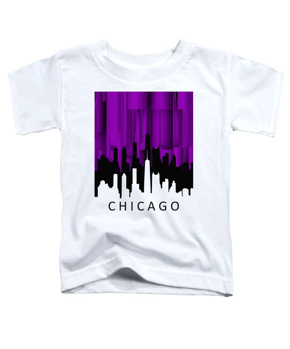 Chicago Toddler T-Shirt featuring the digital art Chicago Violet Vertical by Alberto RuiZ