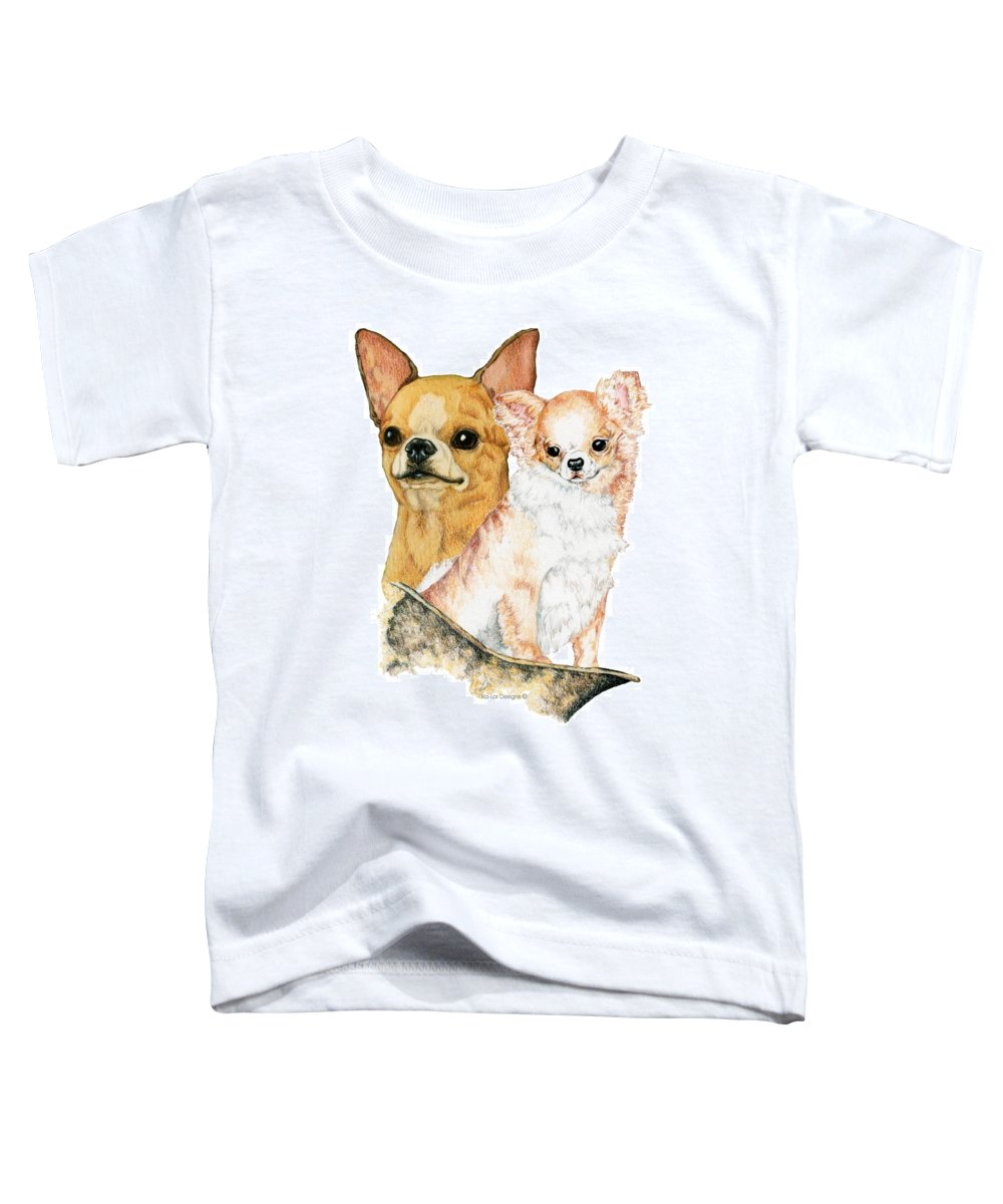 Chihuahua Toddler T-Shirt featuring the drawing Chihuahuas by Kathleen Sepulveda