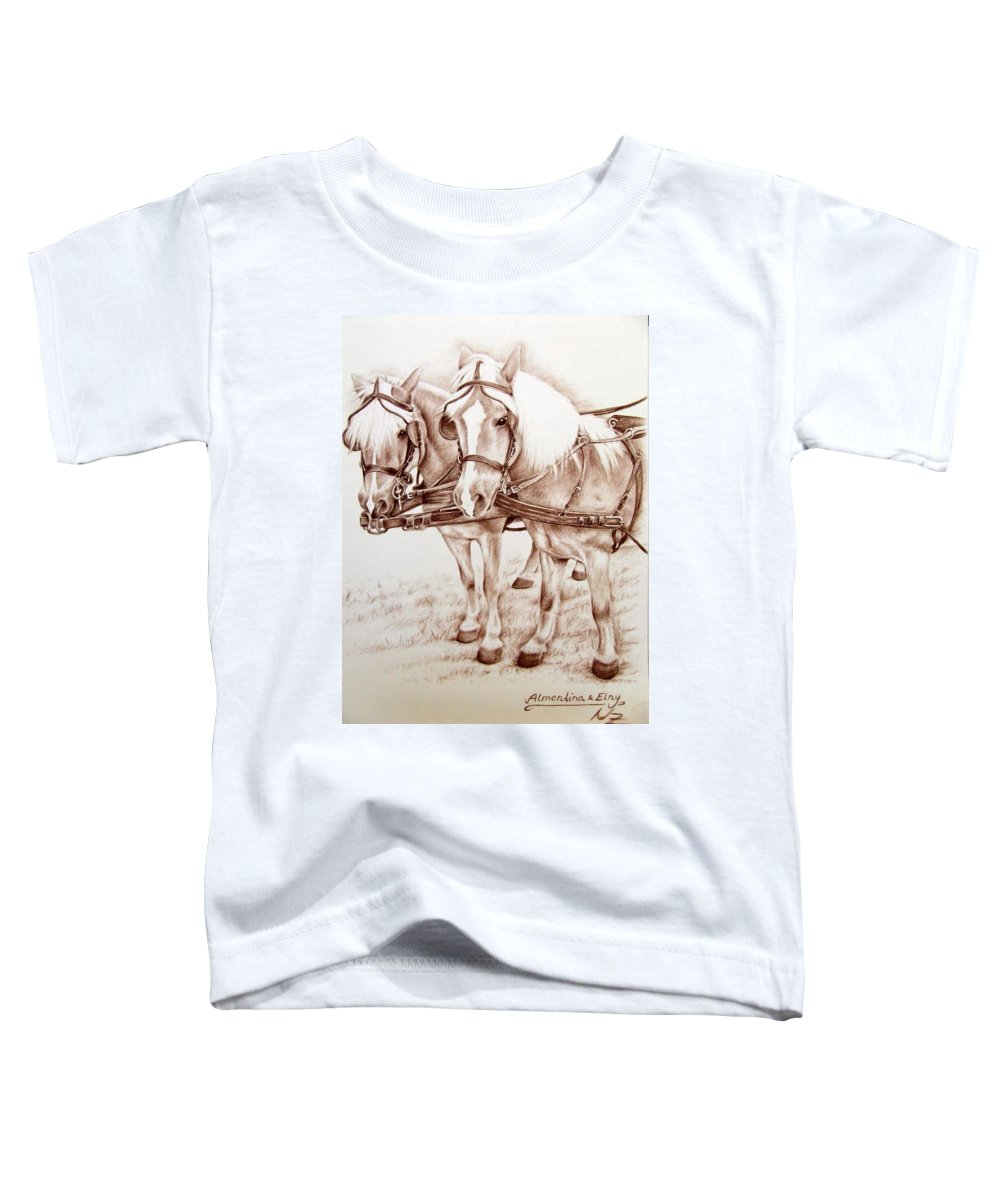 Horses Toddler T-Shirt featuring the drawing Coach Horses by Nicole Zeug
