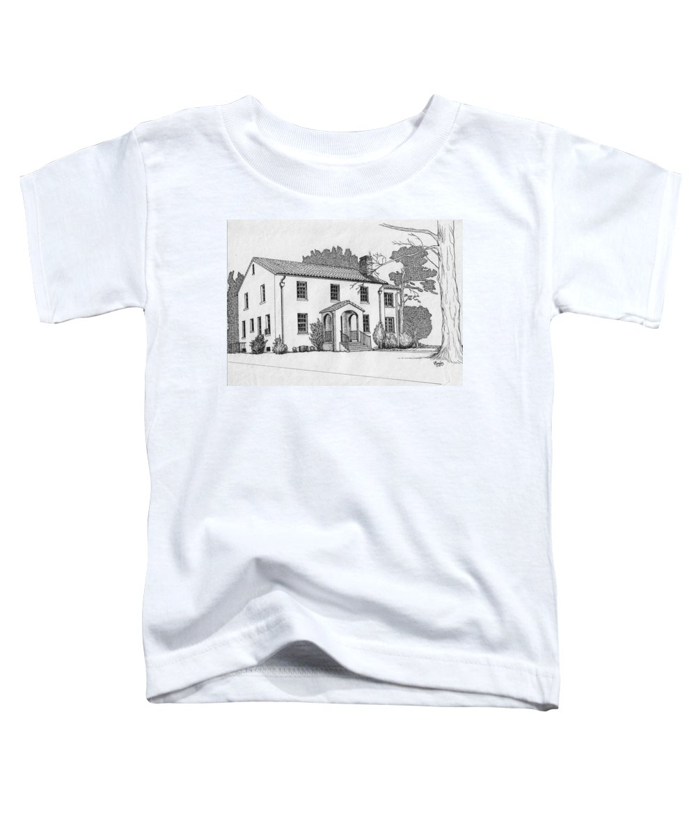 Drawing - Pen And Ink Toddler T-Shirt featuring the drawing Colonel Quarters 2 - Fort Benning Ga by Marco Morales