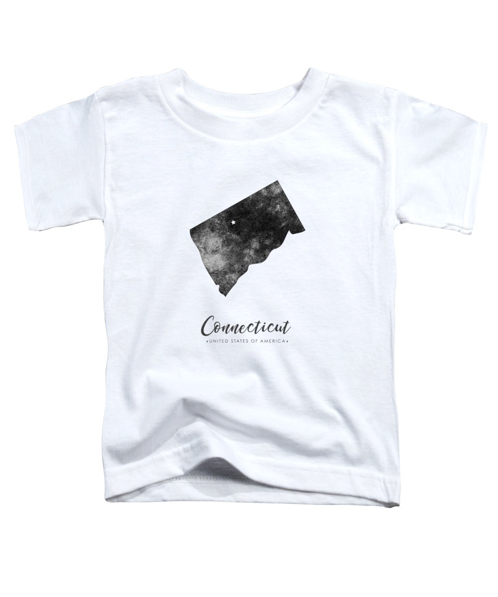 Connecticut Toddler T-Shirt featuring the mixed media Connecticut State Map Art - Grunge Silhouette by Studio Grafiikka
